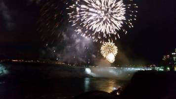 NYE fireworks over Niagara Falls, viewed from the Canadian side